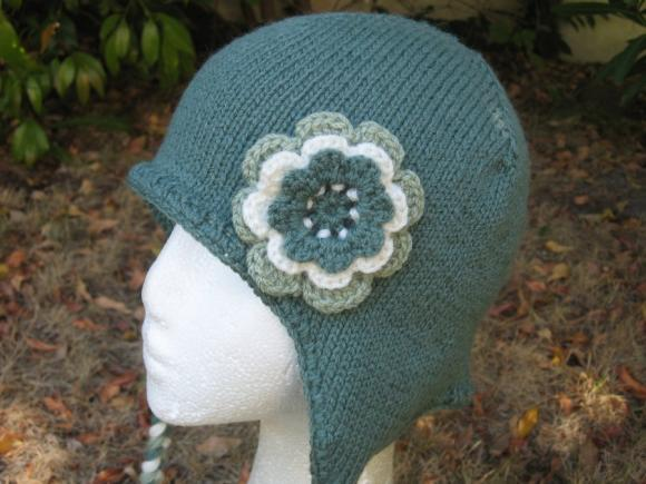 Aviator Hat Ear Flap Hat with crocheted flower - Spruce Green- made to order