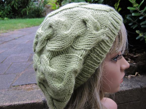 Hand knit Hat - Slouchy Cable Beret - Leaf Green