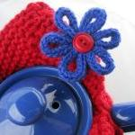 Modern Knit Tea Cosy - cherry red with sapphire blue flower - custom and handmade for you