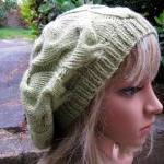 Hand knit Hat - Slouchy Cable Beret..