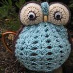 Owl Tea Cosy - duck egg blue - made..