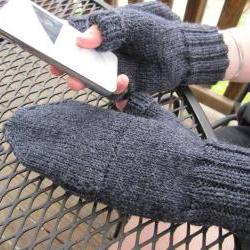 Convertible Mittens Glittens - charcoal grey - made to order